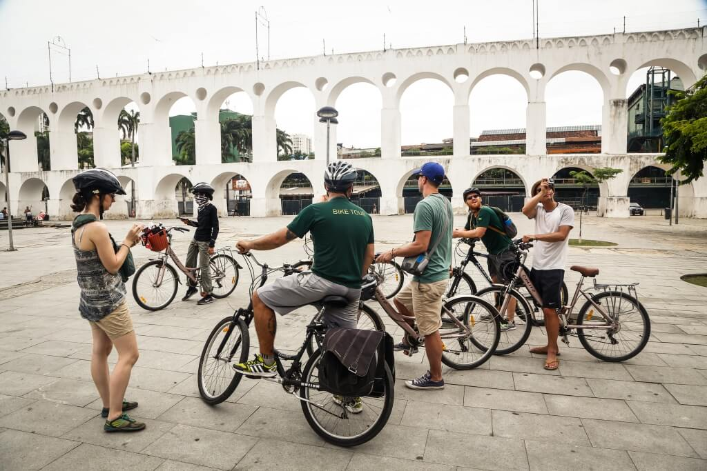 Learning about historic Lapa on the Rio City Bike Tour with Bike in Rio Tours